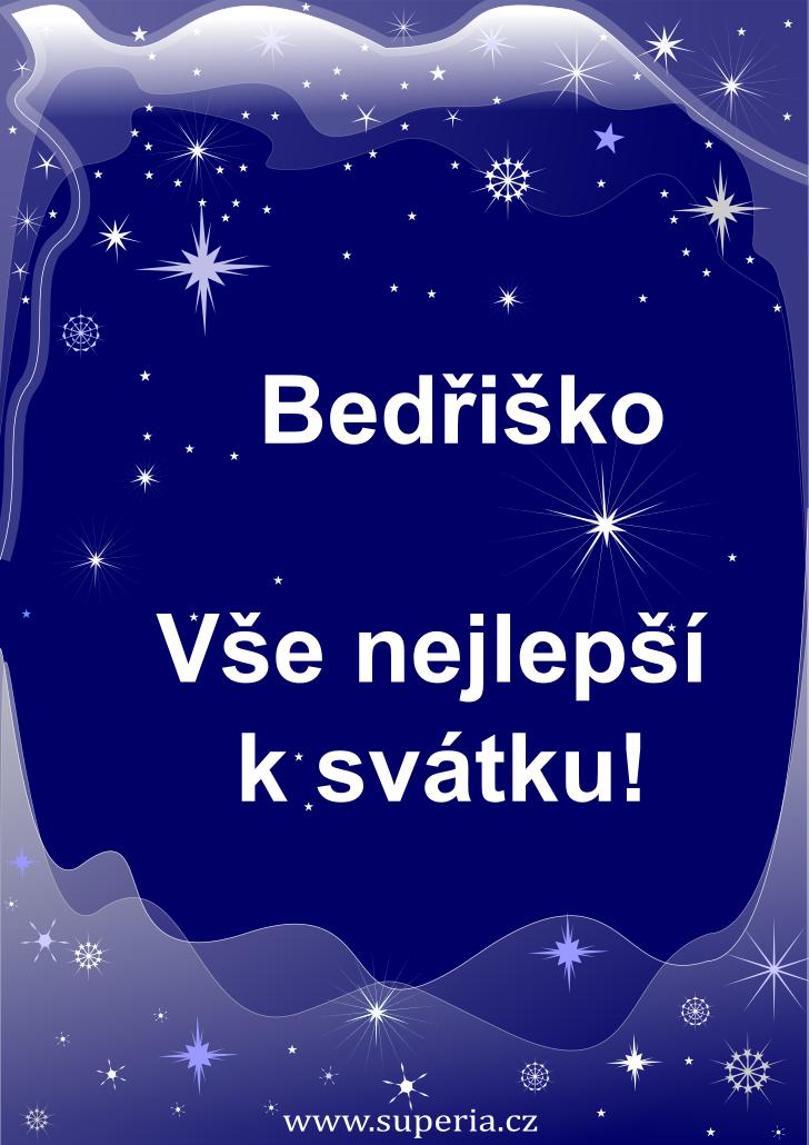 Bedřiška - 1. března 2021 - obrázkové přání k jmeninám, gratulace k svátku, na Facebook