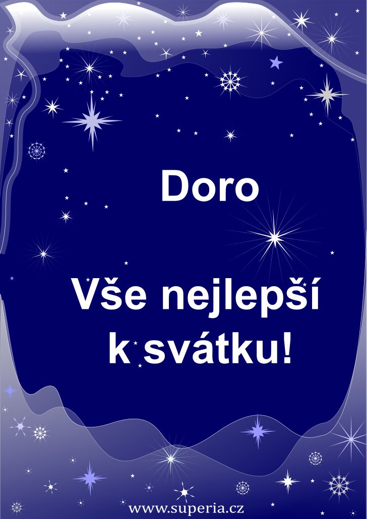 Dora - 26. února 2020 - obrázkové přání k jmeninám, gratulace k svátku, na Facebook