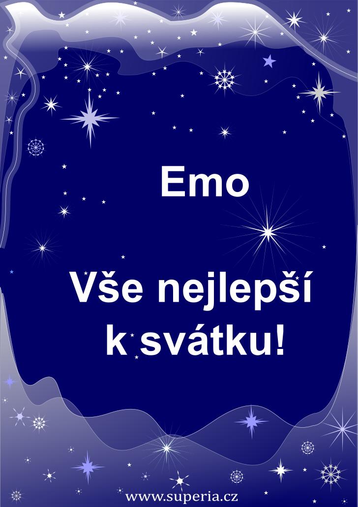 Ema - 8. dubna 2020 - obrázkové přání k jmeninám, gratulace k svátku, na Facebook