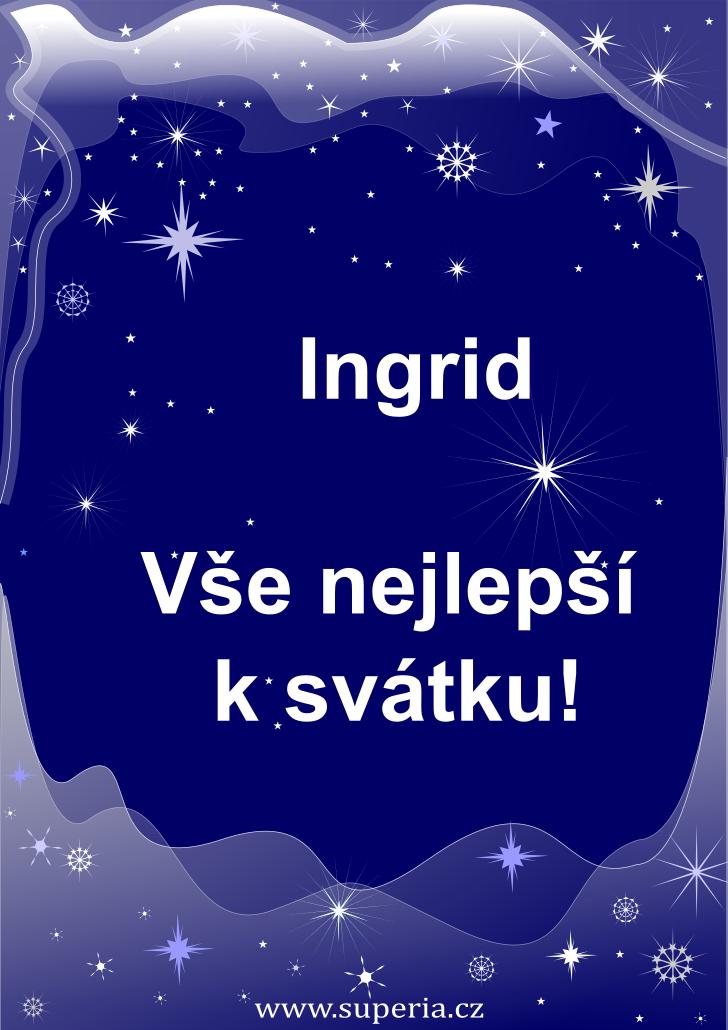 Ingrid - 26. ledna 2021, dětské přání ke svátku, jmeniny děti, dětské obrázky k oslavě jmenin