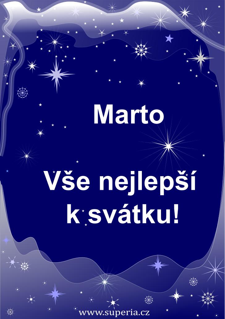Marta - 29. červenec 2021 - přání k svátku podle jmen, blahopřání k jmeninám k zaslání emailem