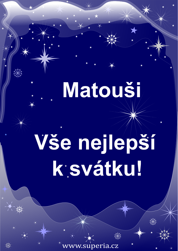 Matouš - 20. září 2020, přání ke svátku pro děti, jmeniny, dětská textová a obrázková přáníčka k jmeninám