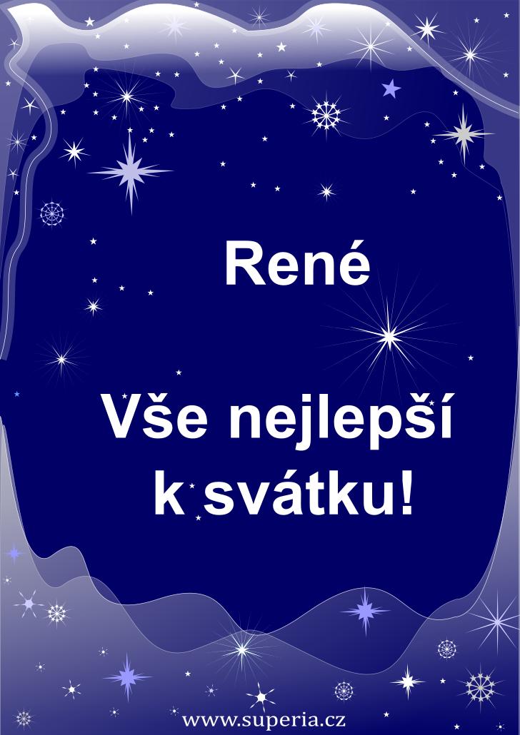 René - 28. listopad 2020 - přání k svátku podle jmen, blahopřání k jmeninám k zaslání emailem