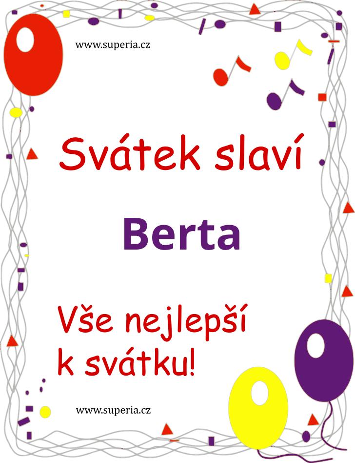 Berta - 23. září 2020 - obrázkové přáníčko k svátku, jmeninám k zaslání emailem