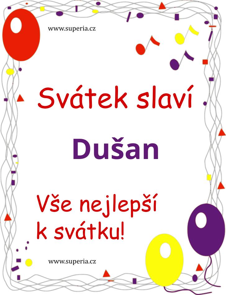 Dušan - 9. dubna 2020 - obrázkové přáníčko k svátku, jmeninám k zaslání emailem