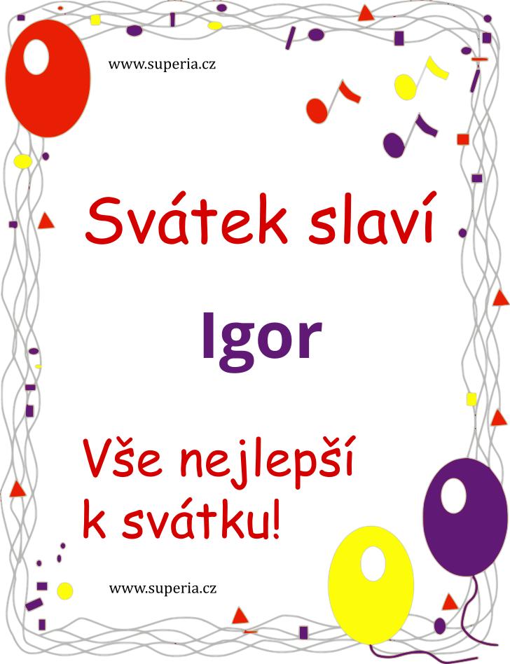 Igor - 30. září 2020 - Texty blahopřání k jmeninám podle jmen