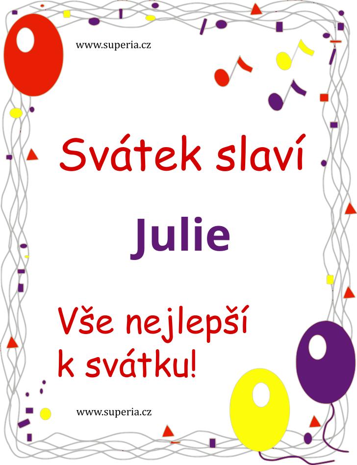 Julie - 9. prosinec 2019 - Obrázková přáníčka k jmeninám