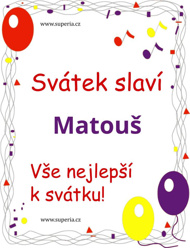 Matouš - 21. září 2019 - obrázkové přáníčko k svátku, jmeninám k zaslání emailem