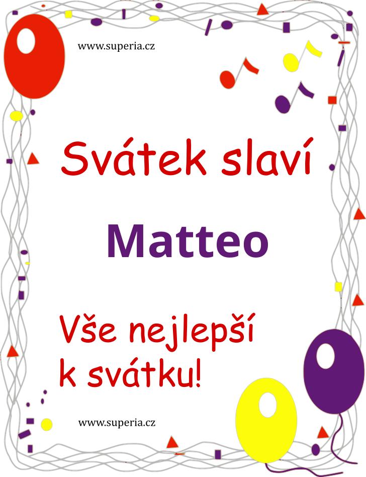 Matteo - 21. září 2019 - obrázkové přáníčko k svátku, jmeninám k zaslání emailem