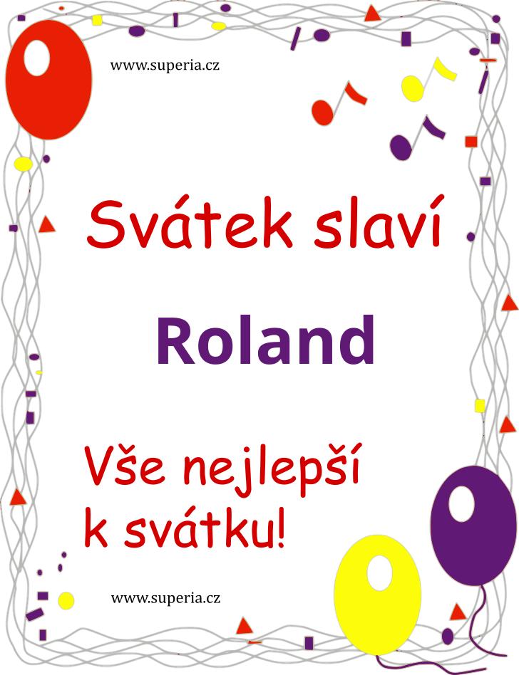Roland - 14. června 2021 - obrázkové přáníčko k svátku, jmeninám k zaslání emailem