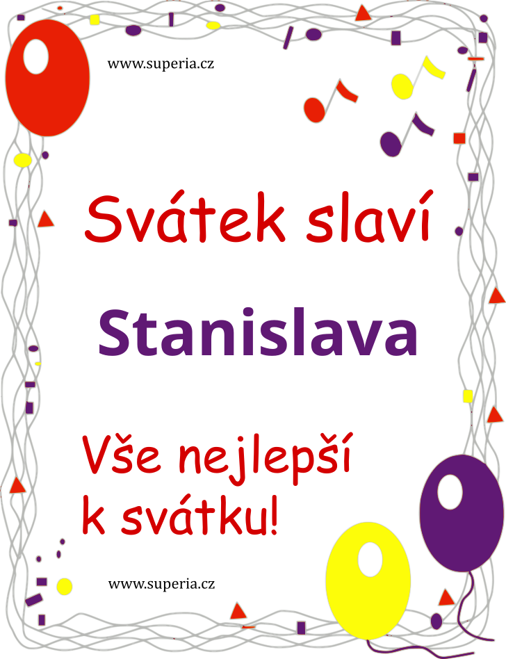 Stanislava - 8. červen 2020 - Doporučené texty sms přání