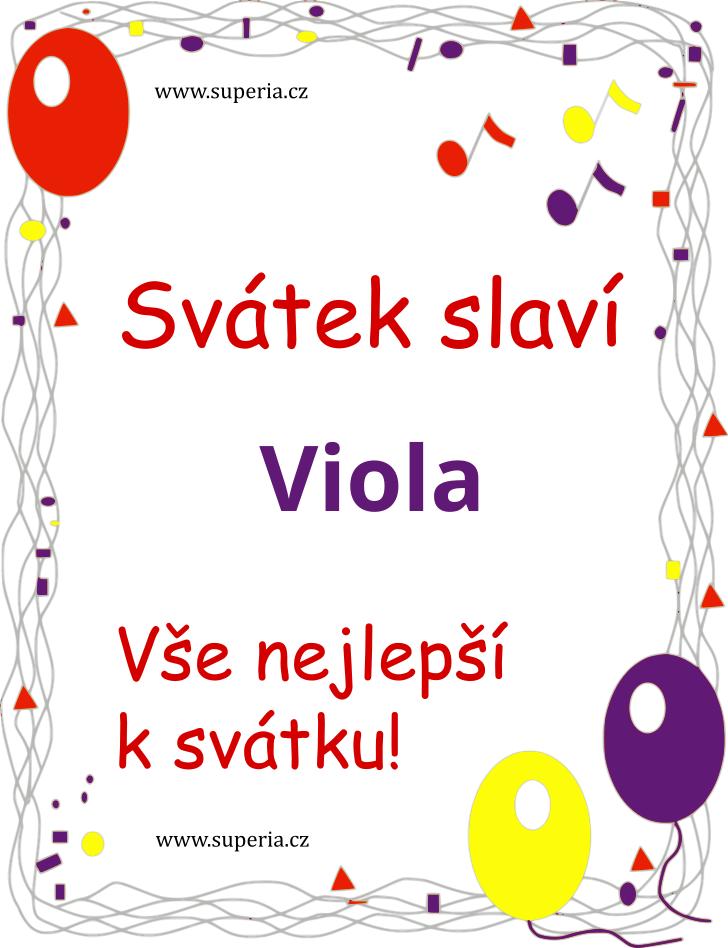 Viola - 25. května 2019 - obrázkové přáníčko k svátku, jmeninám k zaslání emailem
