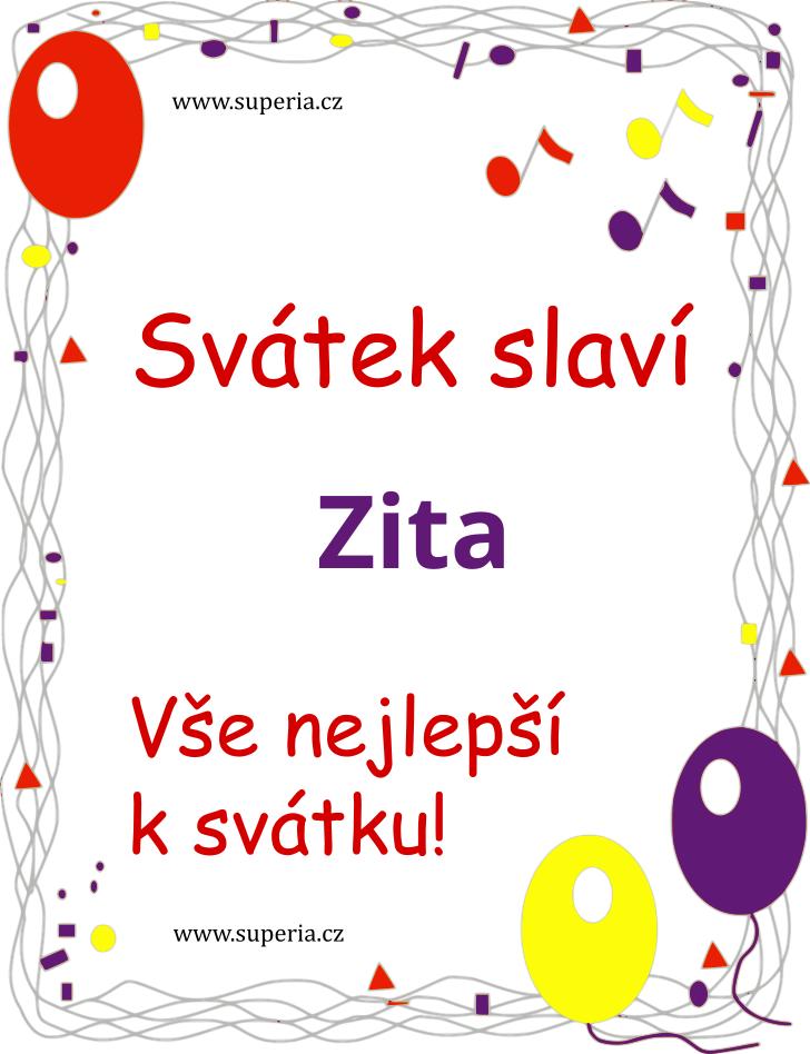 Zita - 19. září 2021 - obrázkové přáníčko k svátku, jmeninám k zaslání emailem