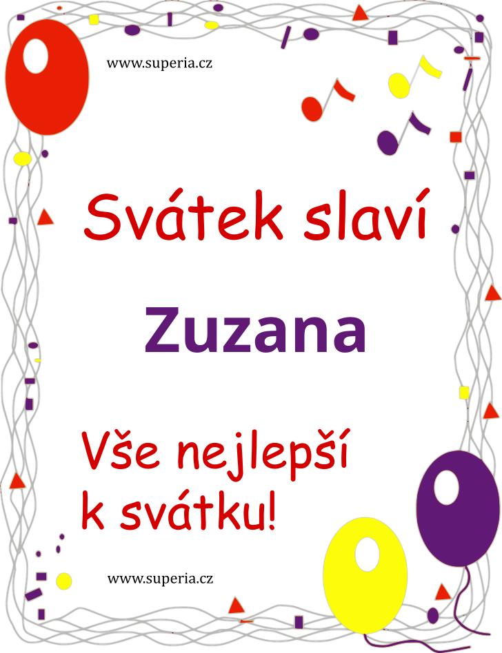 Zuzana - 11. srpna 2020 - obrázkové přáníčko k svátku, jmeninám k zaslání emailem